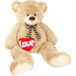 Brubaker Riesiger XXL Teddybär 150cm Beige mit einem Love Plüschherz
