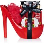 BRUBAKER Cosmetics Luxus Cranberry Beautyset - 6-teiliges Bade- und Dusch Set - Geschenkset in Keramik Stiletto Rot