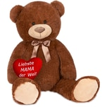 Brubaker XXL Teddybär 100 cm Dunkelbraun mit einem Liebste Mama Herz
