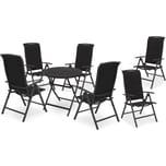 Brubaker Sitzgruppe Milano Glastisch 70 cm Durchmesser mit 6 Hochlehner Stühlen Aluminium Anthrazit