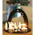 Brubaker Weihnachtspyramide 22 cm - Maria, Josef und Jesus - Teelichtpyramide mit 4 Teelichthaltern