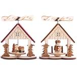 Brubaker 2er Set Weihnachtspyramide - 2 Motive: Engel und Sängerknaben - Holz Tischpyramiden