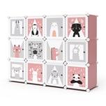 Vicco Kleiderschrank Andy Kinder rosa modular 12 Fächer Kleiderstange Steckregal