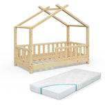 VITALISPA Kinderbett Hausbett DESIGN 70x140cm Natur Zaun Kinder Holz Haus Hausbett mit Matratze