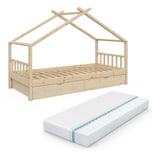 VITALISPA Kinderbett DESIGN Hausbett mit Schubladen und Lattenrost in Klarlack 90x200cm + Matratze