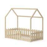 VitaliSpa Kinderbett Hausbett Jugendbett Sonja 80x160 cm Rausfallschutz (Natur Lack)