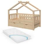 VitaliSpa Design Kinderbett 140x70 Babybett Jugendbett mit Schublade Lattenrost Matratze