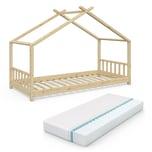 VitaliSpa Kinderbett Design Hausbett Kinder Bett Haus 90x200cm Natur + Matratze