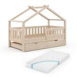 VitaliSpa Design Kinderbett 160x80 Babybett Hausbett Gästebett Lattenrost (Natur + Matratze)