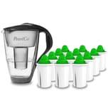 PearlCo Glas Wasserfilter Anthrazit Inkl. 12 Alkaline Filterkartuschen