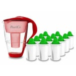 PearlCo Glas Wasserfilter Rot Inkl. 12 Alkaline Filterkartuschen
