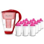 PearlCo Glas Wasserfilter Rot Inkl. 12 AquaMag Filterkartuschen