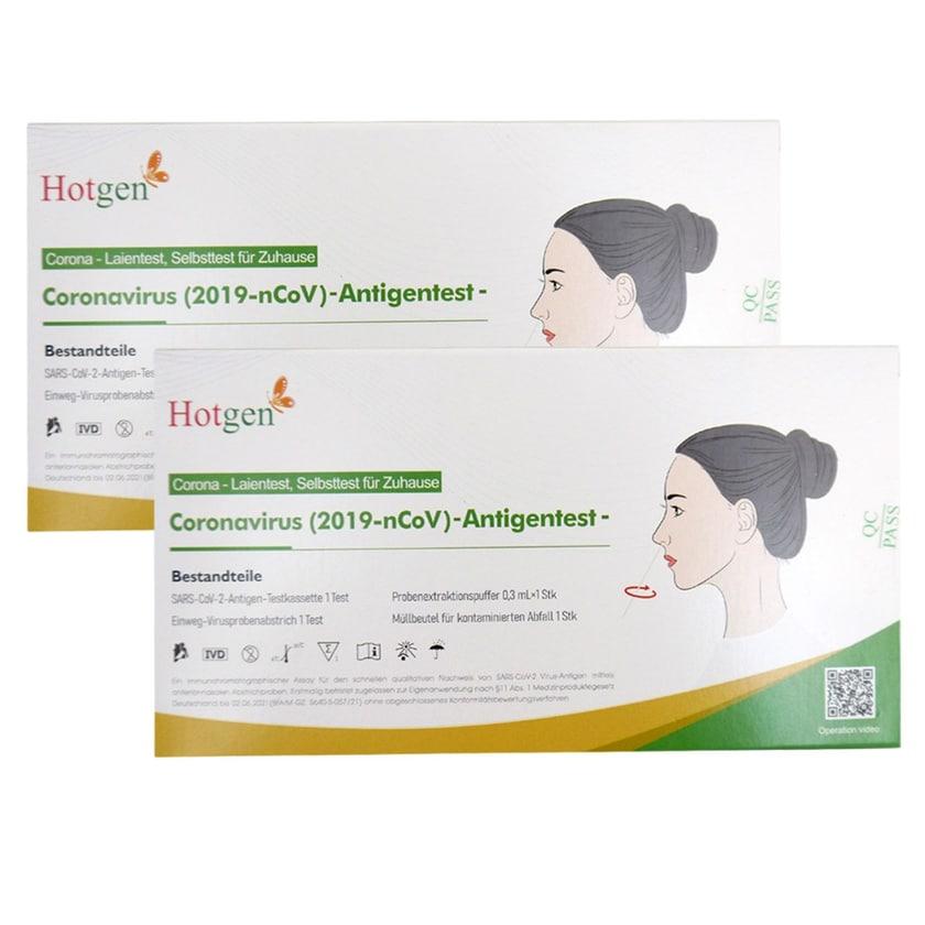 2x Hotgen Corona Schnelltest Laientest Coronavirus Antigentest zur Selbstanwendung