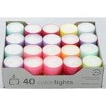 40 Colorligths Summer Edition ca. 8h Teelichter in transparanter Hülle von Wenzel-Kerzen