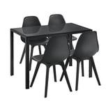 en.casa Essgruppe 5-tlg. Stathelle für 4 Personen Esstisch 4 Stühle Küchentisch mit Glasplatte Esszimmertisch Schwarz