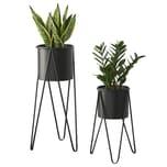 en.casa Blumenständer Hedera 2er Set Pflanzenständer mit Hairpin Legs Blumentopf Schwarz