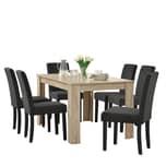 en.casa Esszimmerset Kramfors 7-tlg. Essgruppe mit Tisch und 6 Stühlen Essstuhl Dunkelgrau Esstisch Gekälkte Eiche