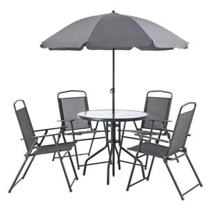 en.casa Gartenmöbelset Milagro 6-tlg. Loungeset Sitzgruppe Sitzgarnitur Tisch 4 Stühle und Sonnenschirm Schwarz Dunkelgrau