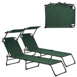 casa.pro Sonnenliege Lomeda 2er Set mit Dach Relaxliege Gartenliege Klappbar Dunkelgrün
