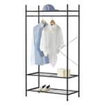 en.casa Garderobenständer 3 Ablagen Kleiderständer Kleiderregal für Schuhe Kleider Hüte Stahl 150x80x40cm Schwarz