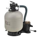 pro.tec Sandfilteranlage 400mm 12 m³/h 5-Wege Ventil 400 W Poolfilter mit Pumpe Poolfilteranlage mit Druckanzeige Beige