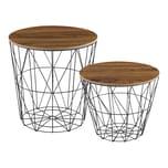 en.casa Beistelltisch Codogno Couchtisch 2er Set in 2 Größen Metallkörbe mit abnehmbarer Tischplatte holzfarben