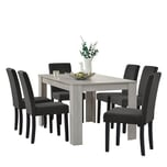 en.casa Esszimmerset Kramfors 7-tlg. Essgruppe mit Tisch und 6 Stühlen Essstuhl Dunkelgrau Esstisch Eiche