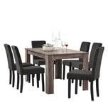 en.casa Esszimmerset Kramfors 7-tlg. Essgruppe mit Tisch und 6 Stühlen Essstuhl Dunkelgrau Esstisch Antike Eiche