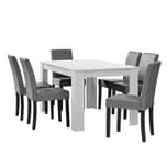 en.casa Essgruppe Forssa 7-tlg. Esstisch mit 6 Stühlen Polsterstühlen Weiß Hellgrau