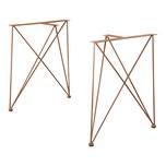 en.casa Tischbein Makers Tischgestell 2er-Set für DIY Tisch 62x22x72cm Kupferfarben