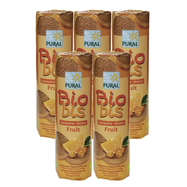 Pural Bio Dinkel-Doppelkeks mit Sanddorn-Orangencreme 5x300g