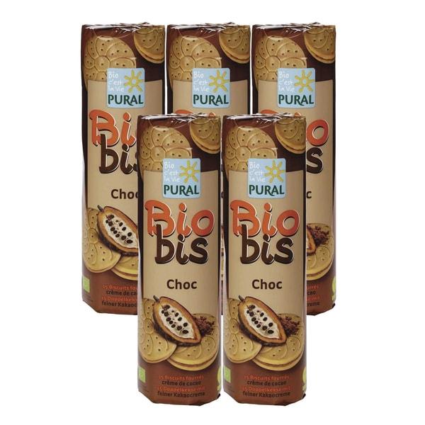 Biobis Choc Doppelkeks mit Kakaocreme, Bio, 5x300 g