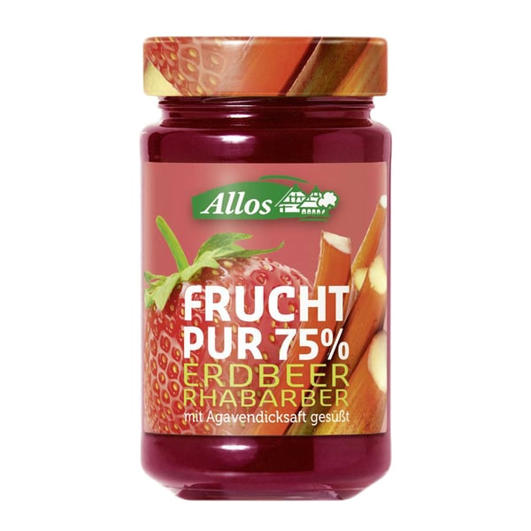 Allos Bio Frucht Pur 75% Erdbeer Rhabarber 250g