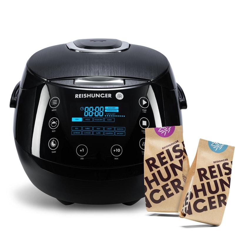 Reishunger Digitaler Reiskocher 860W / 1.5L Bundle mit 200g Bio Basmati + 200g Jasmin Reis