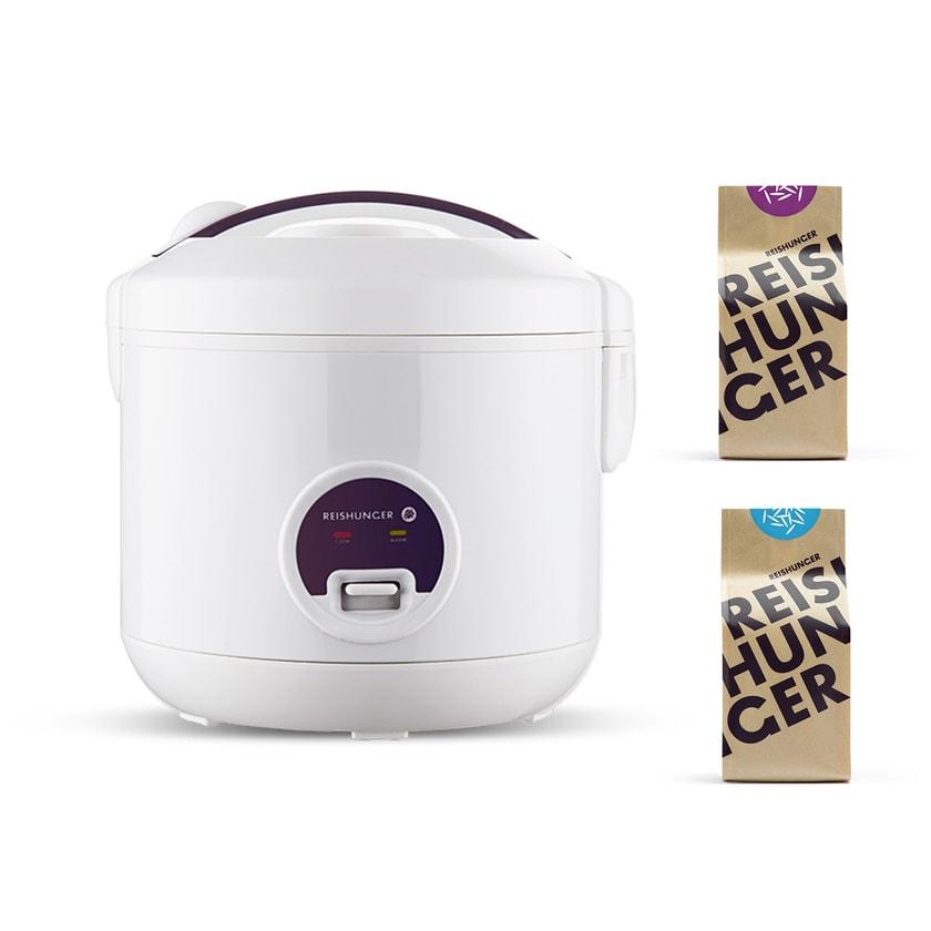 Reishunger Reiskocher 1,2L 500W + Basmati Reis 200g + Jasmin Reis 200g