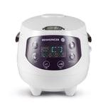 Reishunger Digitaler Mini Reiskocher weiß/aubergine 350W 0,6l