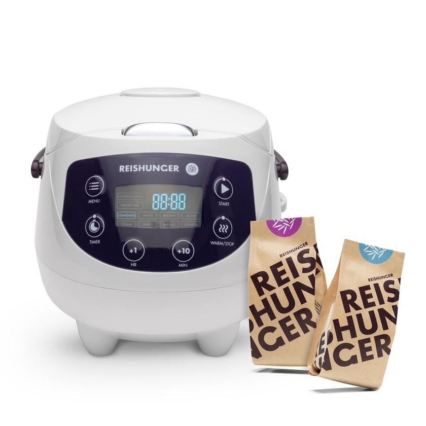 Reishunger Digitaler Mini Reiskocher Bundle, 350W, 0,6l Weiß Bundle
