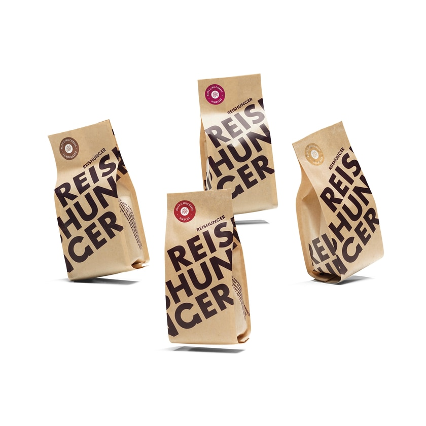 Reishunger Blitz-Milchreis 4er Probierset Klassisch, Himbeere, Kirsche, Schokolade