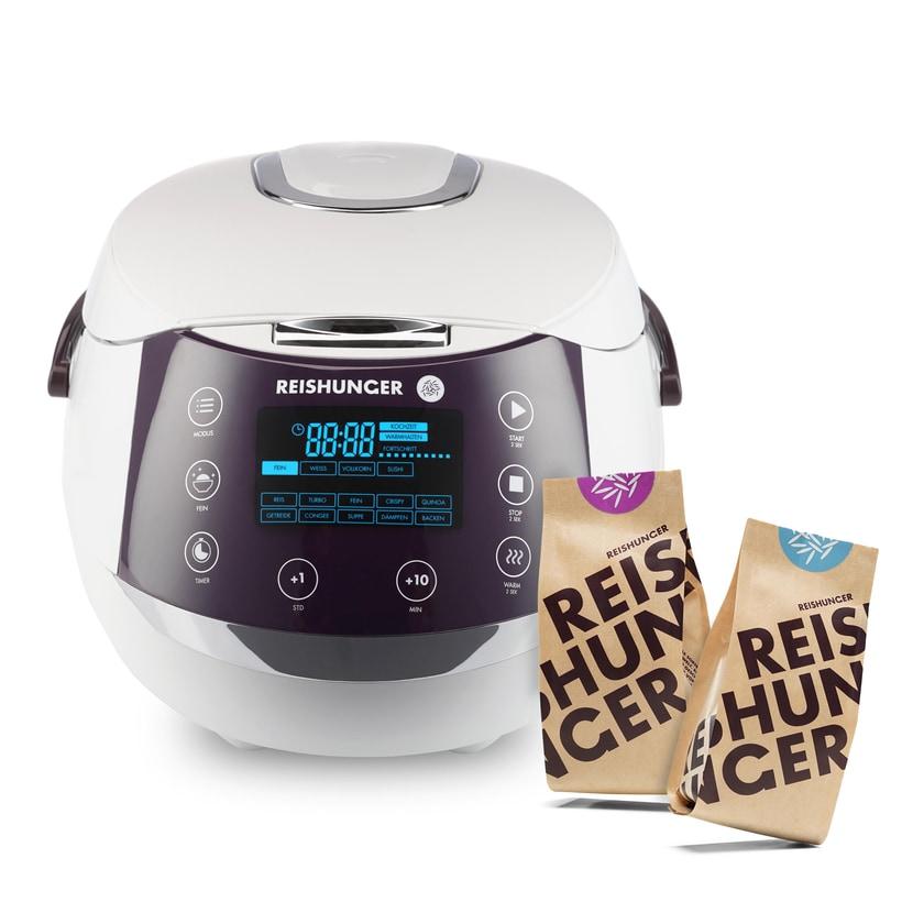 Reishunger Digitaler Reiskocher weiß 860W / 1.5L Bundle mit 200g Bio Basmati + 200g Jasmin Reis