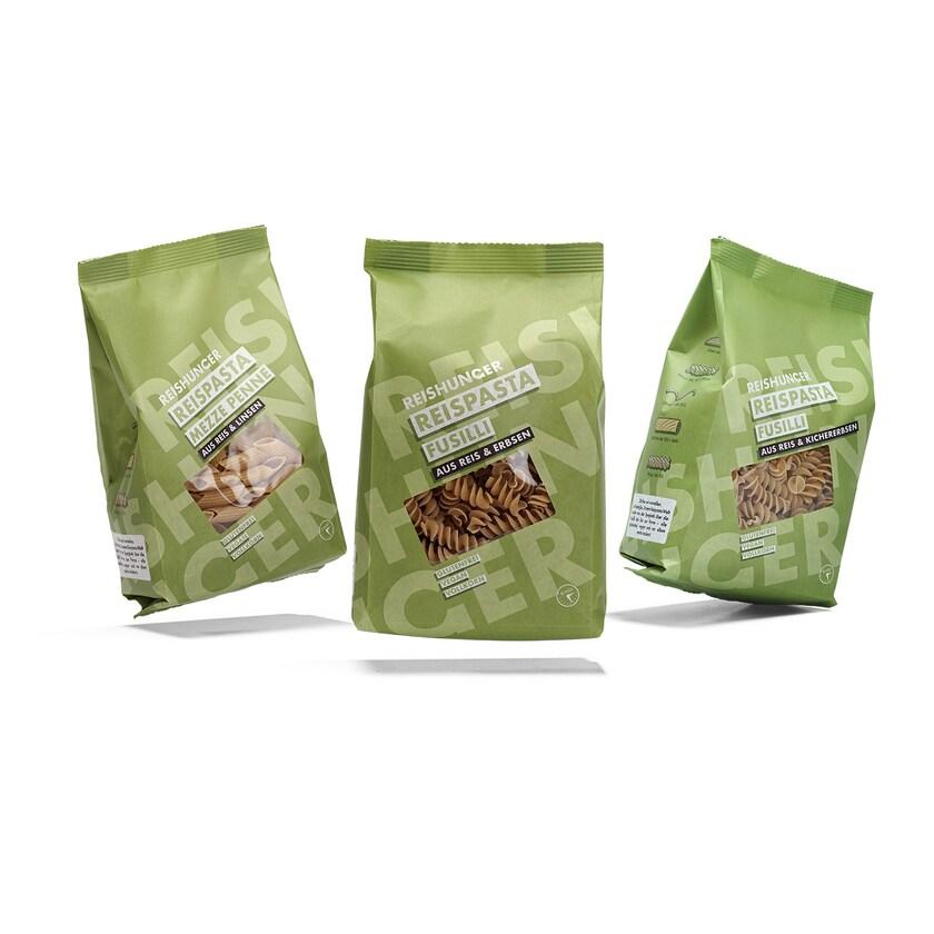Reishunger Reispasta und Hülsenfrüchte Mezze Penne Fusilli 3x240g