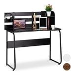 Relaxdays Schreibtisch mit Rückwand und Ablage