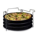 Relaxdays Pizzablech 4er Set mit Ständer