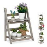 Relaxdays Blumentreppe Holz grau