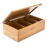 Relaxdays Teebox Bambus lackiert 4 Fächer