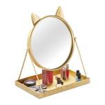 Relaxdays Goldener Kosmetikspiegel mit Ablage