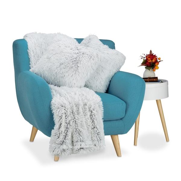 Relaxdays Kuscheldecke mit 2 Kissen