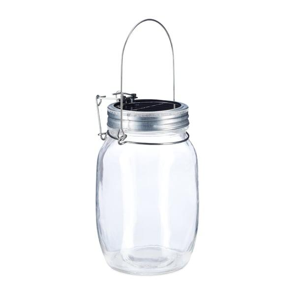 Relaxdays Solarleuchte im Einmachglas weiß