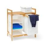 Relaxdays Wäschesammler Bambus LINEA mit Regal