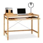 Relaxdays Computertisch Holz mit Tastaturauszug