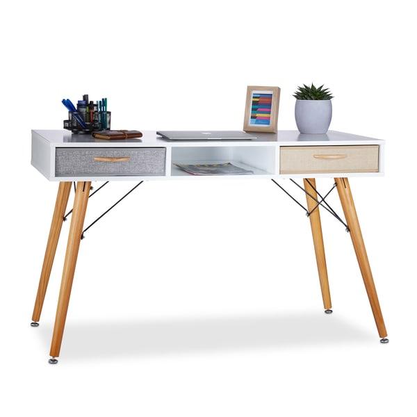 Relaxdays Schreibtisch weiß